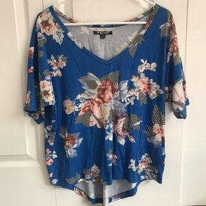 Volcom Blue Floral Top - Juniors Large